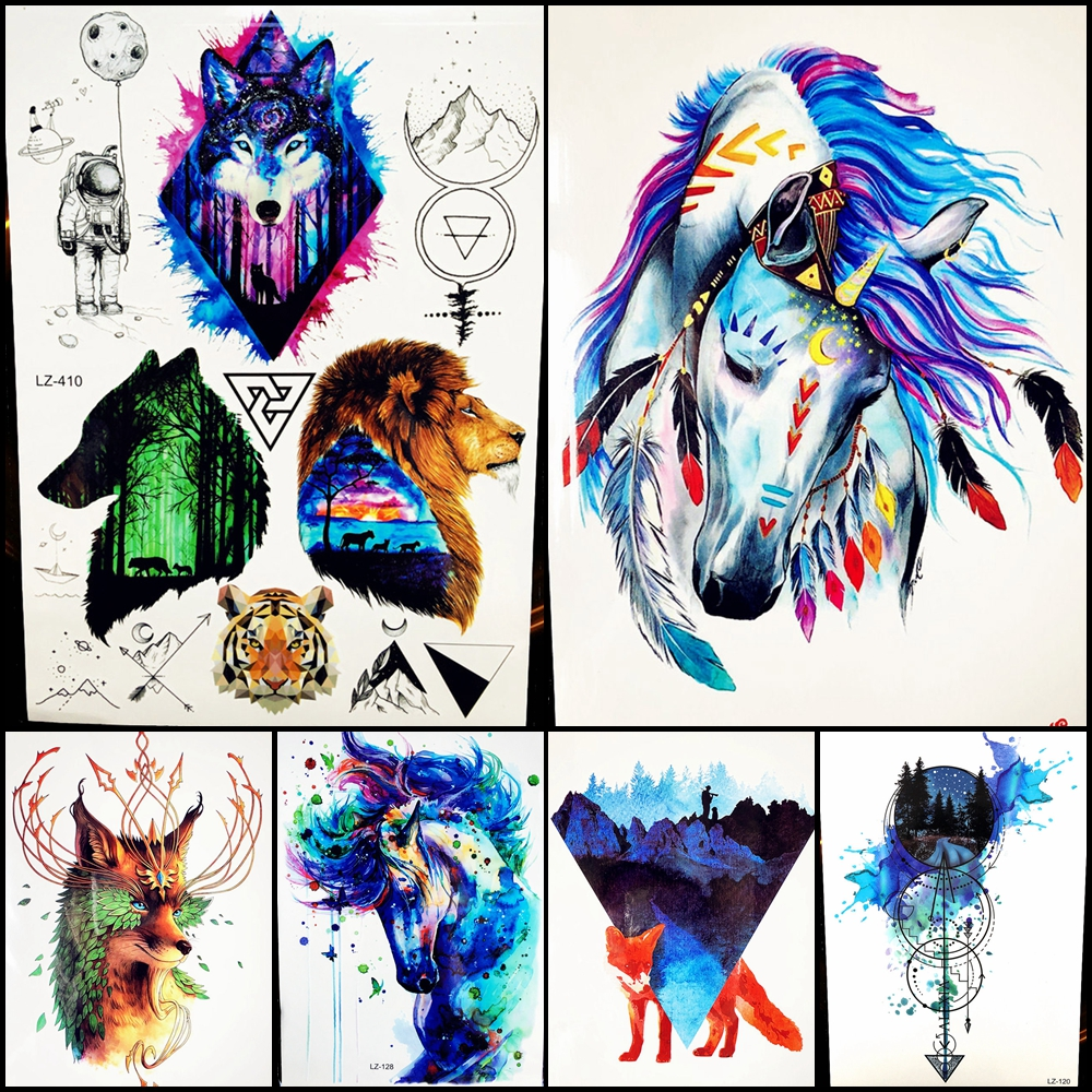 b1d974ceb Blue Watercolor Unicorn Horse With Butterfly Temporary Tattoo ...