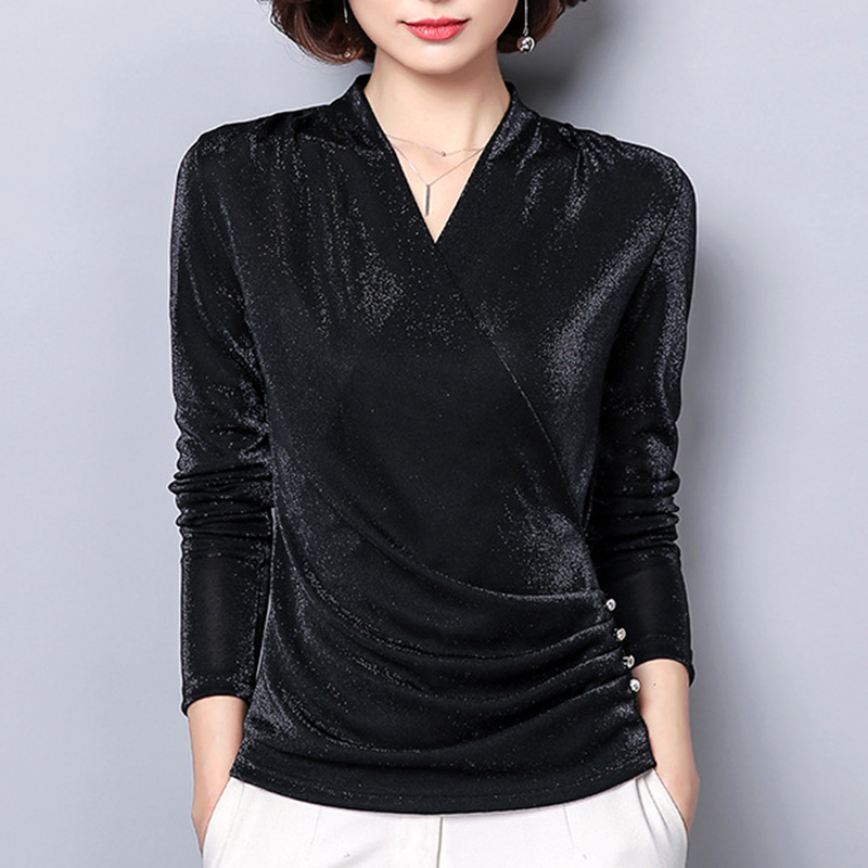 Women Long Sleeve Blouse 2018 Autumn V Neck Sparkling Blouses Tops Women Casual Slim Ladies Oversized Party Blusas Shirt SJ200S