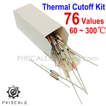 PHISCALE Thermal Fuse Kit 76Values x 1Piece 10A 250VAC 60-300C Degree (140-572F) Temperature Thermal Cutoffs Assortment Pack
