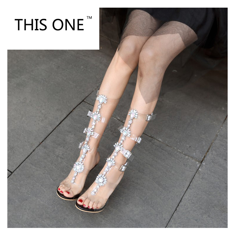 Aliexpress.com   Buy 2017 Sexy Pvc Transparent Gladiator Sandals Woman Open  Toe T strap Rhinestone Diamond Clear High Heel Shoes Women Summer Boots  from ... 7c88de4ea288