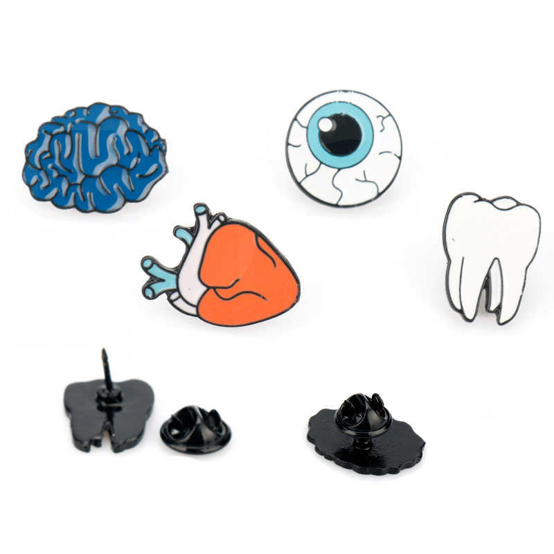 Creative Jewelry Brooch enamel pin Human organs Shape Heart  Brain Eye Tooth Brooches for Women Men Lapel pin Children Gift