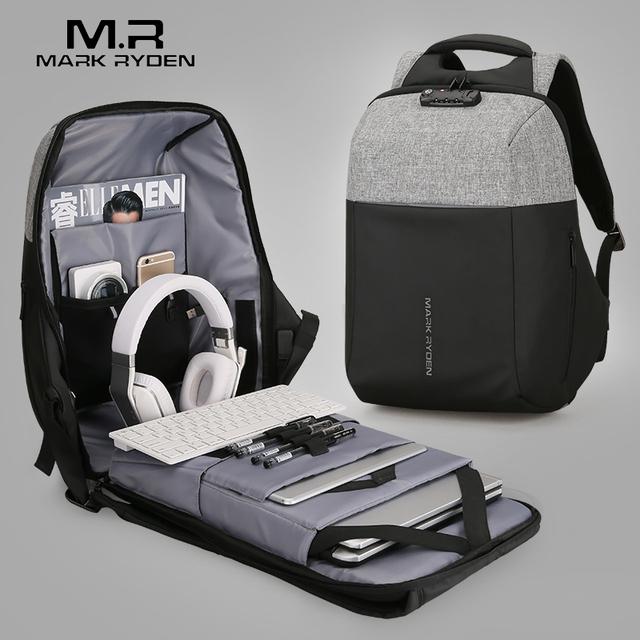 Mark Ryden New Anti-thief USB Recharging Laptop Backpack Hard Shell No Key TSA Customs Lock Design Backpack Men Travel Backpack