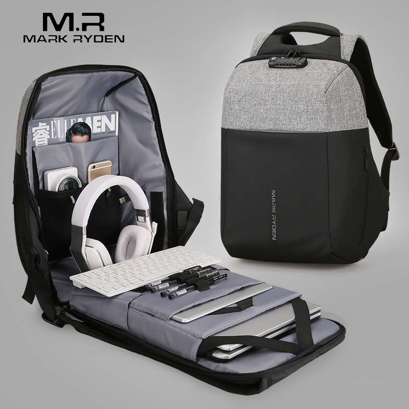 Mark Ryden nuevo Anti-ladrón recarga USB ordenador portátil mochila Shell duro No clave de la TSA aduanas Cierre de diseño hombres de mochila mochila de viaje