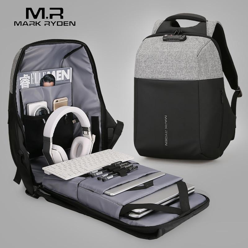 Mark Райден Новый Анти-Вор USB для подзарядки ноутбук рюкзак Hard Shell никакой ключ TSA таможенный замок Дизайн рюкзак Для мужчин путешествия рюкзак