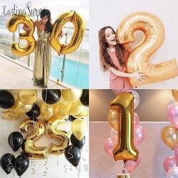 Рисунок шар фольга 40 дюймов лет баллон гелия номер счастливый 18 день рождения шар воздушные шары для вечеринки воздушные шары для художеств...