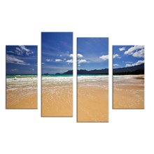 Top Fashion Sale 4 Panels Landscape Of Seaside Unframed Painting Canvas Wall Art Household Products Living Room Print On Modern