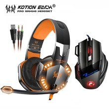 EACH G2000 Stereo Gaming Headset Bass Game Headphones with Mic LED Light+7 Buttons 5500 DPI LED Backlight Pro Gaming Mouse Gamer
