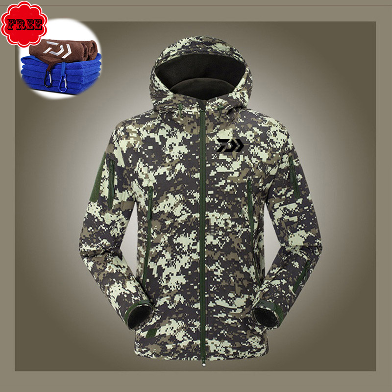 Fishing Clothing Camouflage Men Jacket And Pants Long Sleeve Windproof Fleece Fishing Clothing Suit For Winter Fishing Camping