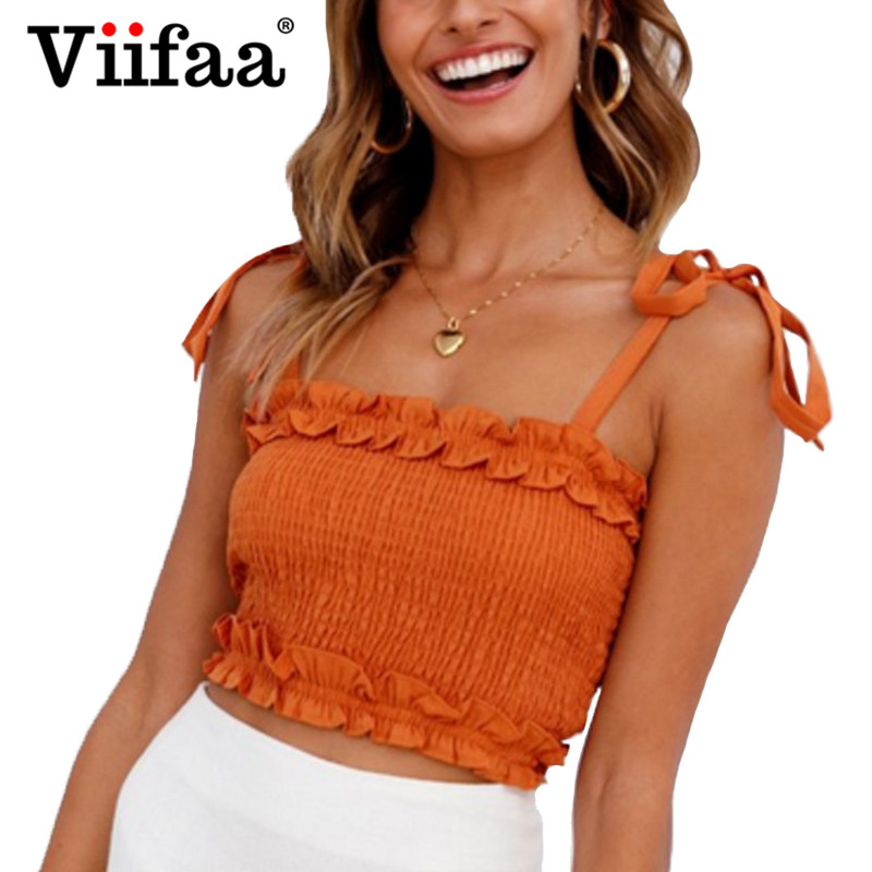Viifaa Ruffle Spaghetti Strap Ruched Blouse Women Orange Red Short Shirt 2018 Streetwear Elastic Bust Ladies Tops