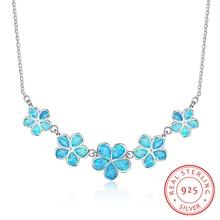 かわいい合成ブルー火災オパール花型スターリング 925 シルバーネックレス