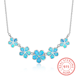Image 1 - Pretty Synthetic Blue Fire Opal Flower Shaped Sterling 925 Silver Necklace