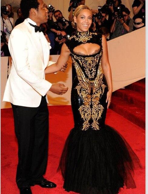 2016 Hot Sexy Beyonce MET Gala Negro Y Oro Bordado Con Cuentas de Cuello Alto Sirena Vestidos de La Celebridad Vestidos de Noche Vestidos de Baile