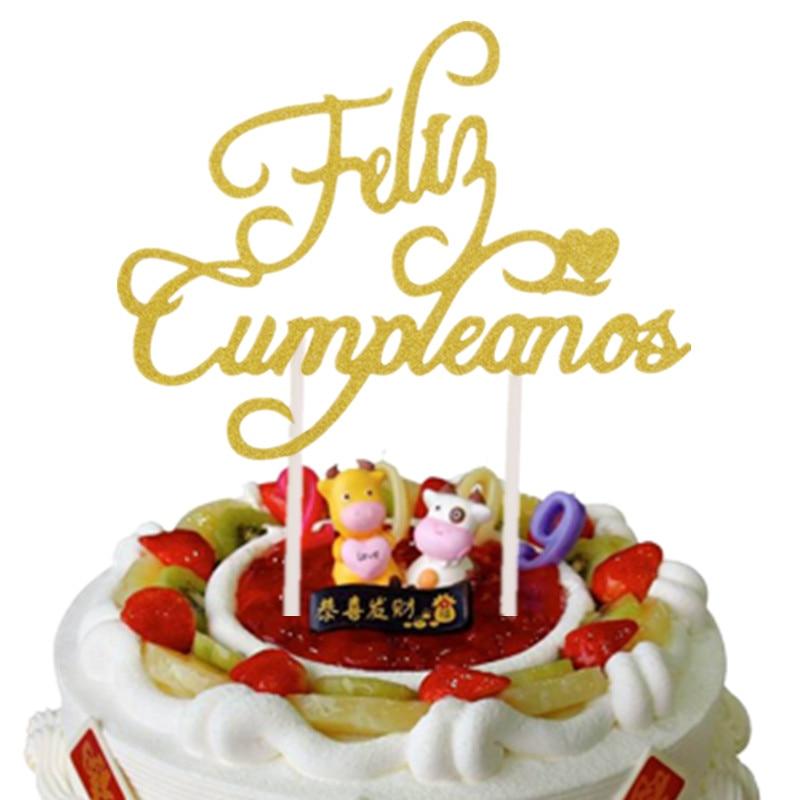 New Spainish Feliz Cumpleanos Cake Toppers Russian Happy Birthday Love Heart Maple Leaf Cake Flag Birthday Party Cake Decor