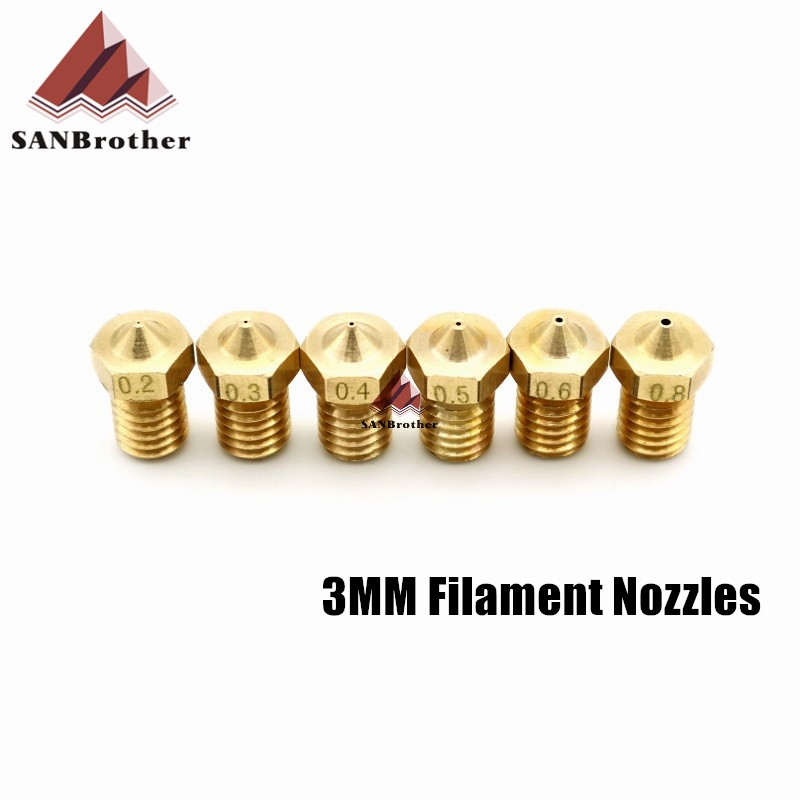 5PCS 3D Printer Threaded M6 Nozzles For Ultimaker V5 V6 Extruder 3mm Filament Part Copper 3D Printers Parts Brass Nozzles Hot!!!