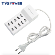 USB Charger Station Splitter 60W Mobile Phone 10 Ports HUB Smart IC Charge Universal for iPhone Samsung Mp3 Tablet