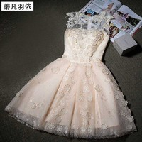 Real Photo Prom Dress In Stock Evening Gown A Line Lace Applqiue Short Pro M Gown