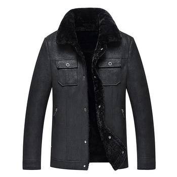 2020 New Men Leather Jacket Faux Leather Fur Jacket Men Biker Jacket Winter Leather Coat Black Fur Liner Autumn Leather Jackets