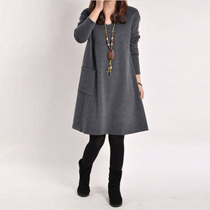 Image 3 - EaseHut Mori Girl Casual Midi Dress Women V neck Long Sleeve 4XL 5XL Large Size Dress 2020 Female Autumn Winter Dress Vestidos