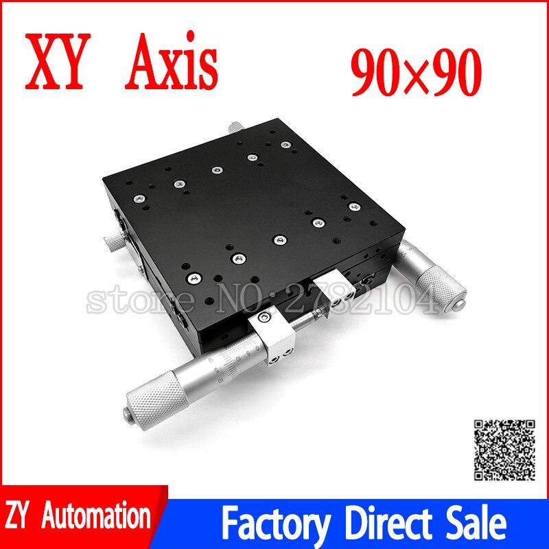 XY Axe 90*90mm Parage Station Manuel Plate-Forme de Déplacement phase linéaire Table Coulissante XY90-LM XY90-C LY90-R Croix Rail - 3