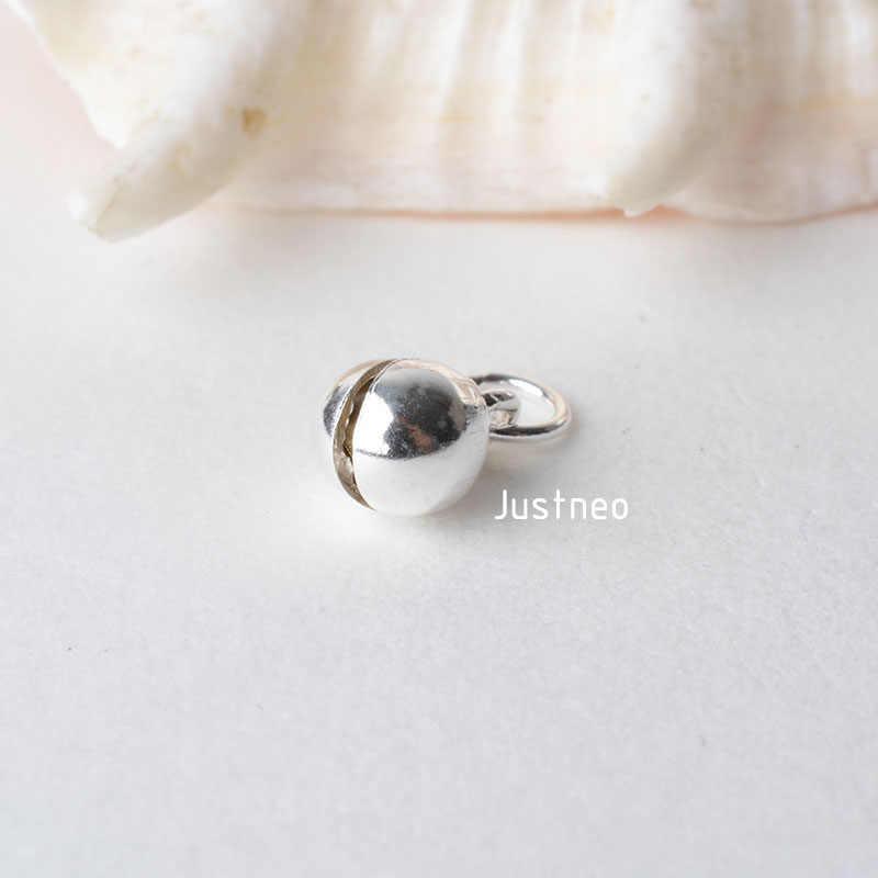 Sólido 925 Sterling Silver pequeno sino pingente charme com Argola Fechada, encantos spacer bead para colar & pendant jóias