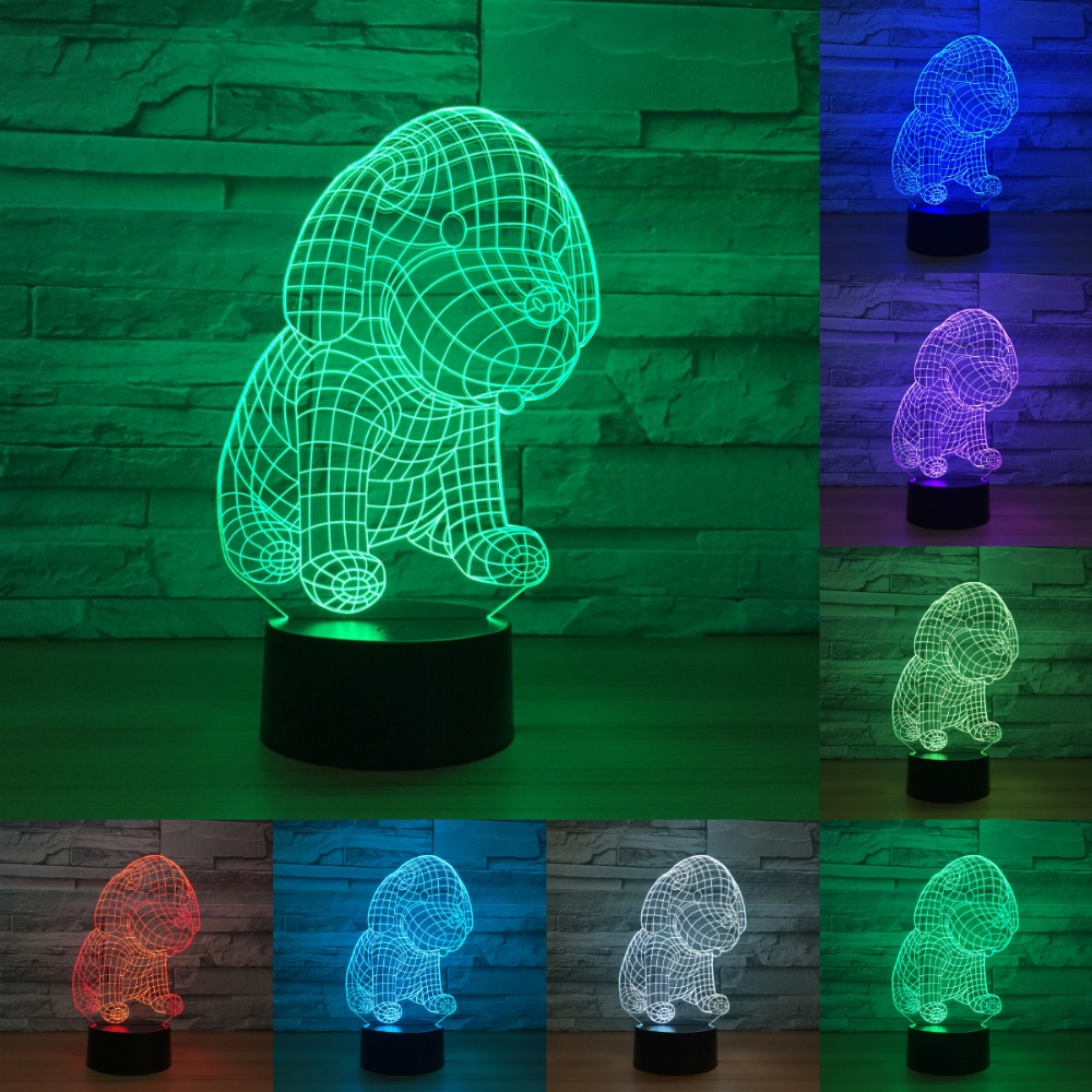 Cute Dog 7 Color Lamp 3d Led Night Lights For Kids Touch Usb Table light Lampe Baby Sleeping Nightlight IY803174