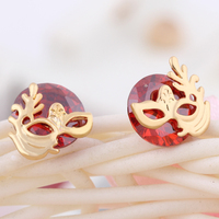 Gussiarro Wholesale Delicate Mask  Plated Colorful Round Cubic Zirconia Women Stud Earrings No Nickel