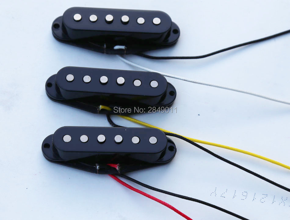 Vintage Single Coil Pickups for Strat Tele Guitars Braided Wiring Alnico 5 Magnets Black