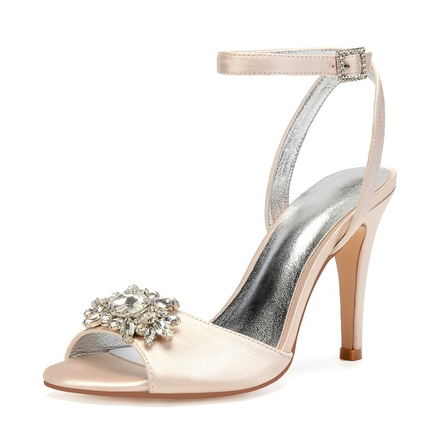 Classic satin evening dress shoes sandals lady s pumps crossed ankle strap  women high heels with crystal brooch party prom ball 2df92ee9c399
