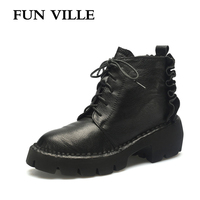 FUN VILLE 2017 New Winter Women Ankle Snow Boots Genuine Leather Light Comfortable Flat Martin Boots