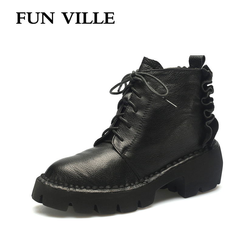 FUN VILLE 2017 New winter Women Ankle snow Boots Genuine leather Light Comfortable Flat Martin boots Round Toe Casual shoes 2017 new anti slip women winter martin