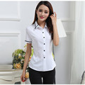 New 2017 Summer Fashion Tops Black Striped Shirt Women Short Sleeve Shirt Female Plus Size College White Casual Blouses