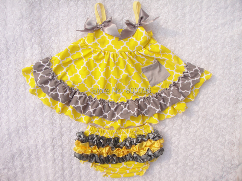 Sale 1-4Years Children Boutique Clothing Set Swing Top and Ruffle Bloomers Swing Outfits Baby Girls KP-SW033