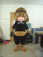 brown sports pig mascot costumes hot sale plush fur pig costumes with hat
