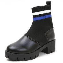 Xiaying улыбка Новый Модные женские туфли весенне-зимние ботинки британский стиль носки обувь Разделение кожа обувь на квадратном каблуке туфли на платформе для Для женщин