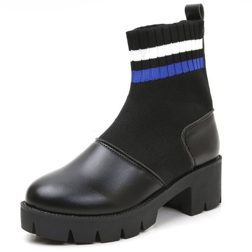 Xiaying ابتسامة جديد أزياء النساء الربيع الشتاء الأحذية البريطانية نمط الجوارب تقسيم الجلود مربع كعب أحذية منصة للنساء-في أحذية منتصف ربلة الساق من أحذية على  مجموعة 1