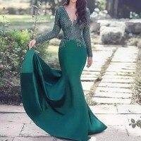Green Muslim Evening Dresses 2019 V neck Mermaid Long Sleeves Lace Islamic Dubai Saudi Arabic Elegant Long Formal Evening Gown