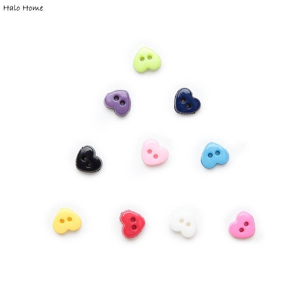 6 мм 100 шт многоцветные одноцветные дополнительные 2 отверстия мини сердце смолы кнопки для шитья скрапбукинга декоративные открытки для рукоделия