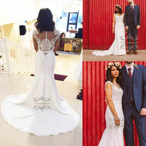 Attractive Mermaid 2019 Lace Women Wedding Dress Chapel Train Bride Gown Girl Bridal Party Illusion with Cap Sleeves for Africa