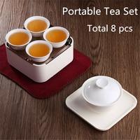 Total de 8 PCS Protable Conjuntos Para Viagens Ao Ar Livre Tradicional Chinesa Kung Fu Jogo de Chá Chá de Café Pote De Chá Em Cerâmica de Porcelana Chinesa