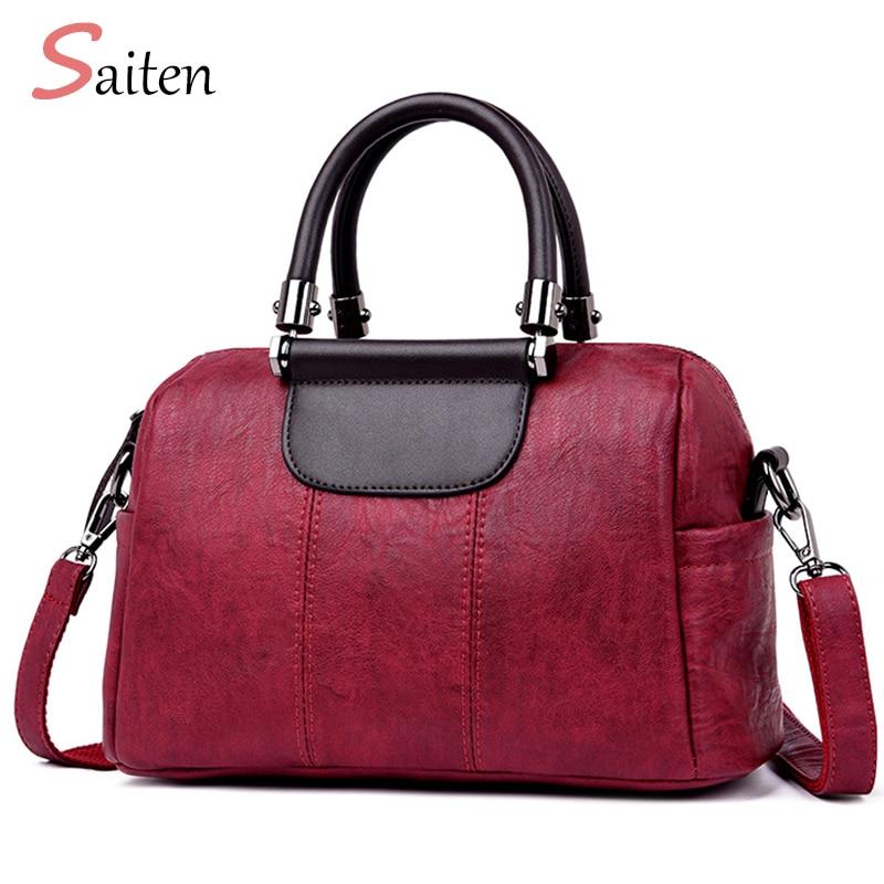 2018 New Women Bag Vintage PU Leather Ladies Handbags Rivet Larger Women Bags Shoulder Bag Motorcycle Messenger Bags Top-Handle цена