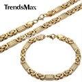 Trendsmax set jóias 6mm mens meninos cadeia pulseira tom de ouro plana bizantino ligação de aço inoxidável colar pulseira set ks165