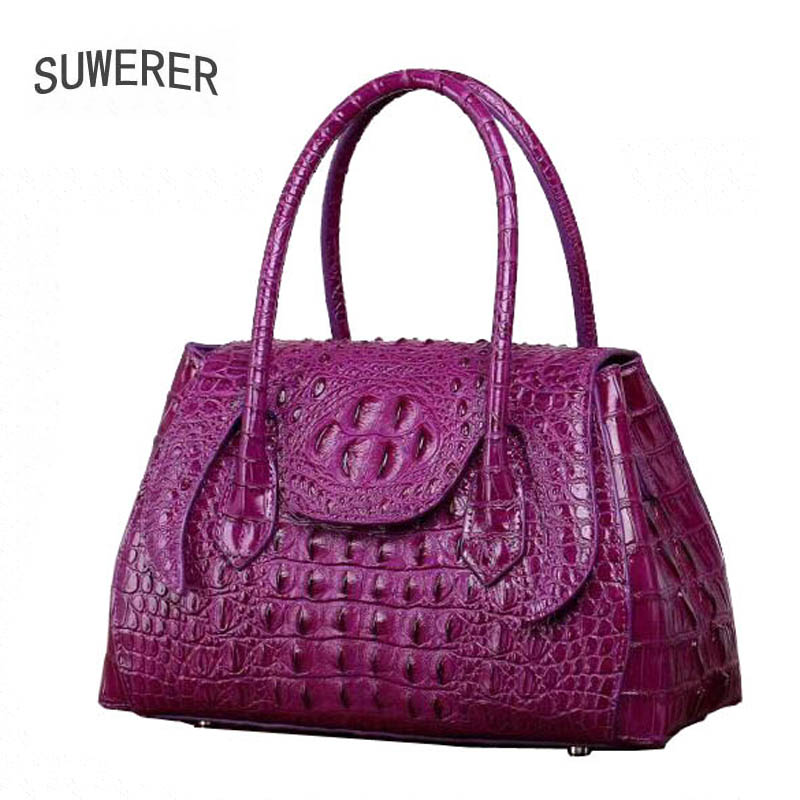 SUWERER 2019 New women bag Superior cowhide Genuine Leather handbags fashion Crocodile pattern women handbags shoulder bagSUWERER 2019 New women bag Superior cowhide Genuine Leather handbags fashion Crocodile pattern women handbags shoulder bag