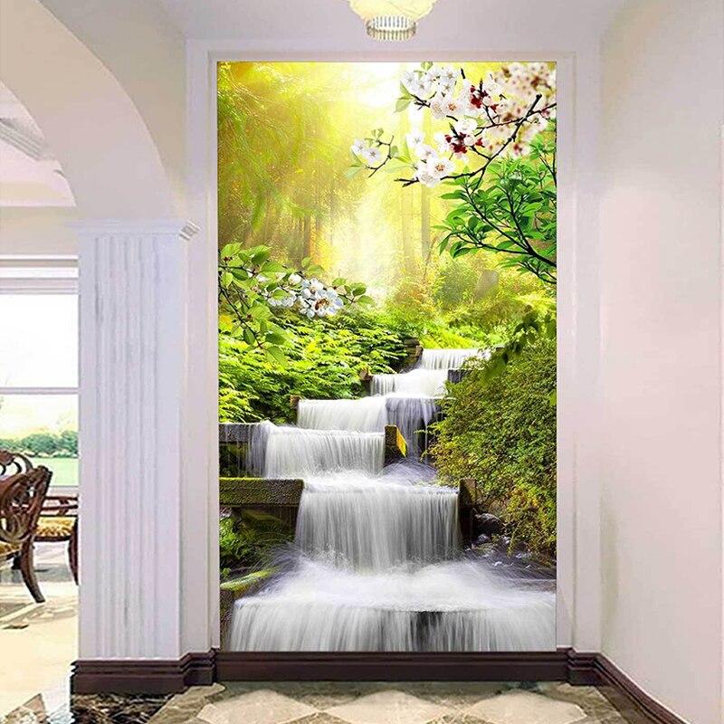 Custom 3D Photo Wallpaper Papel De Parede Forest Sunshine Waterfall Running Water Living Room Entrance Wall Murals Wall Paper 3D