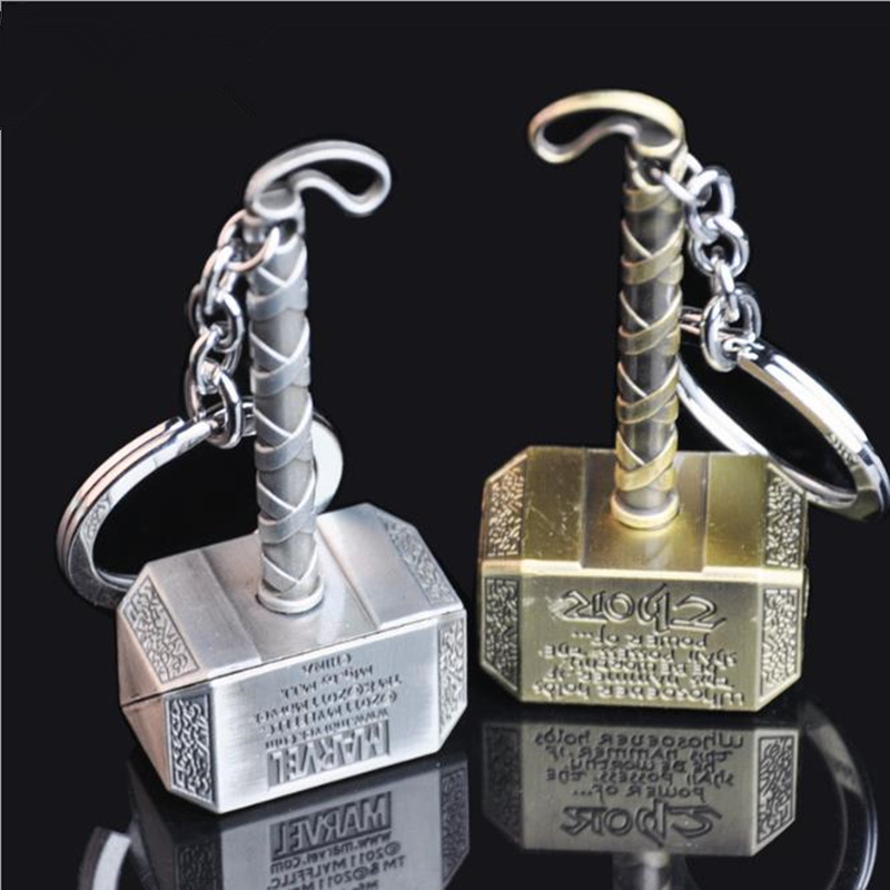 Avengers Thor's Hammer Mjolnir Keychain New Pewter Keyring Toy Thor Chain Ring Key Women And Men Jewelry