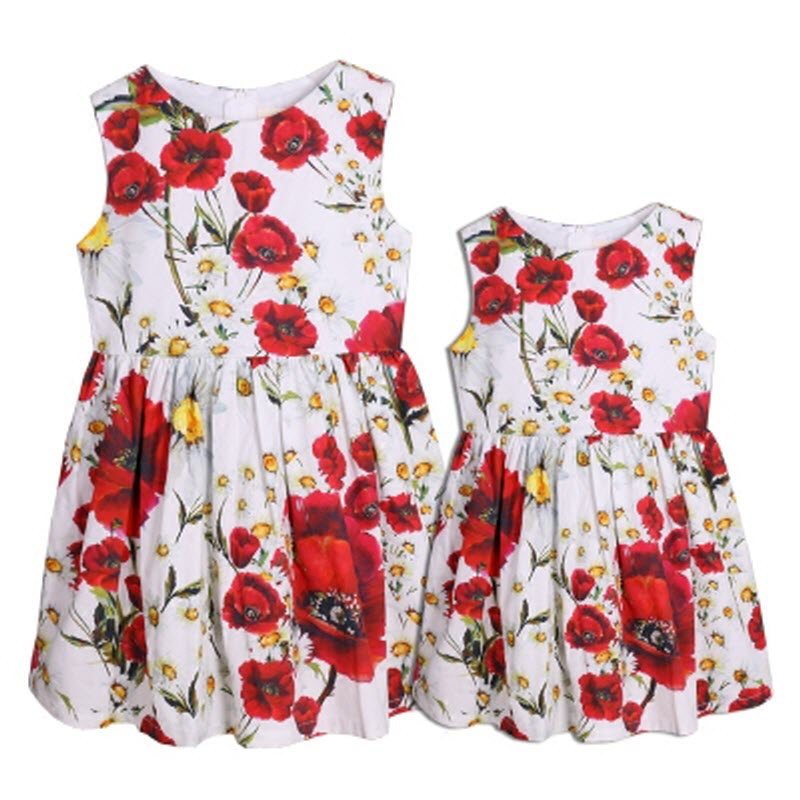 ФОТО children clothes women kids girls family matching clothing family look outfits mother daughter dresses Poppy daisies 100% Cotton