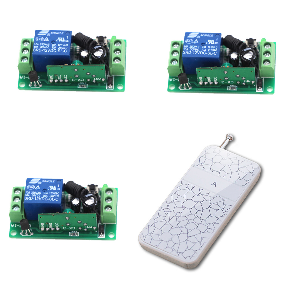Cheap Price Wireless Remote Control Switch DC9V 12V 24V 1CH Relay Receiver  and 1 Channel RF Remote Transmitter 315/433MHZ good price wireless 1 channels 220v lamp remote control switch receiver transmitter used in household stairs corridor promotion