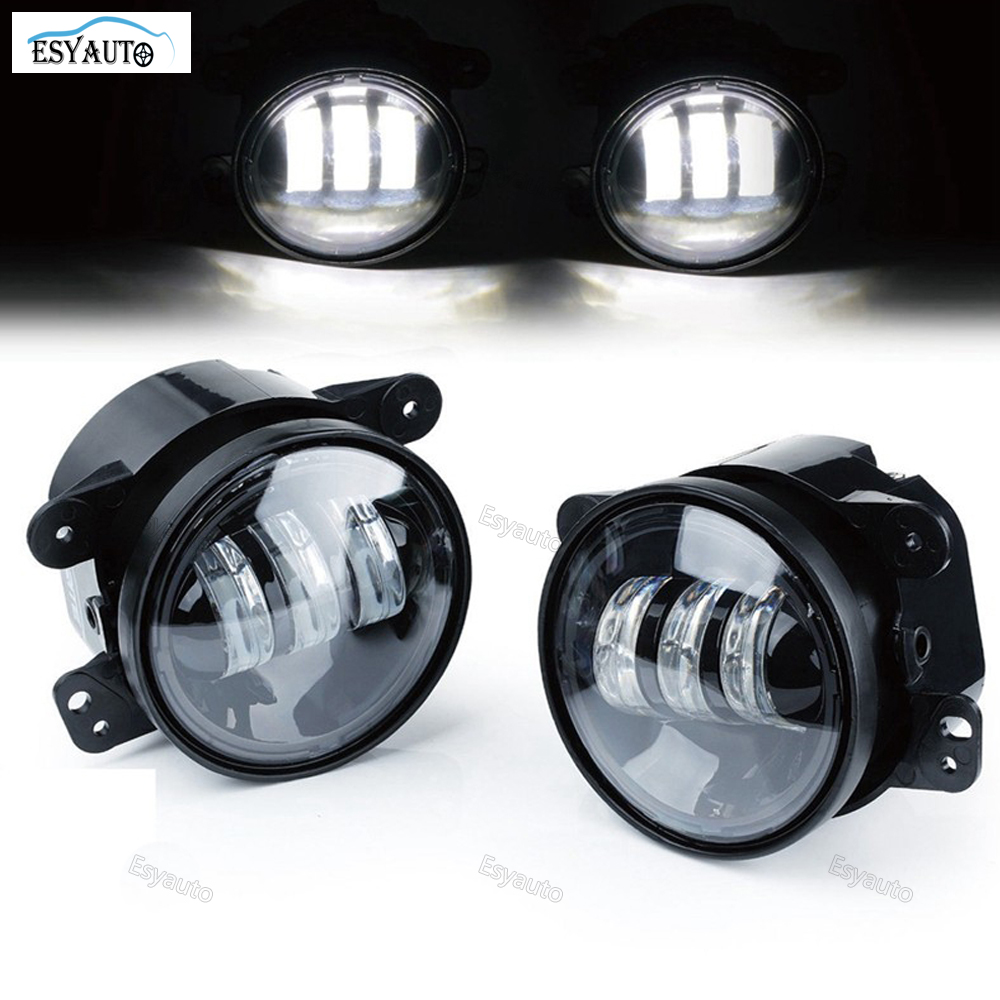Fog lights 4 in. Projector LED Auxiliary Fog Lamps 4'' inch 30W LED Car Light For Jeep Wrangler TJ (2 Pcs/Set) panlelo h7 led car lamps headlights fog lights 9000lm set 12v plug