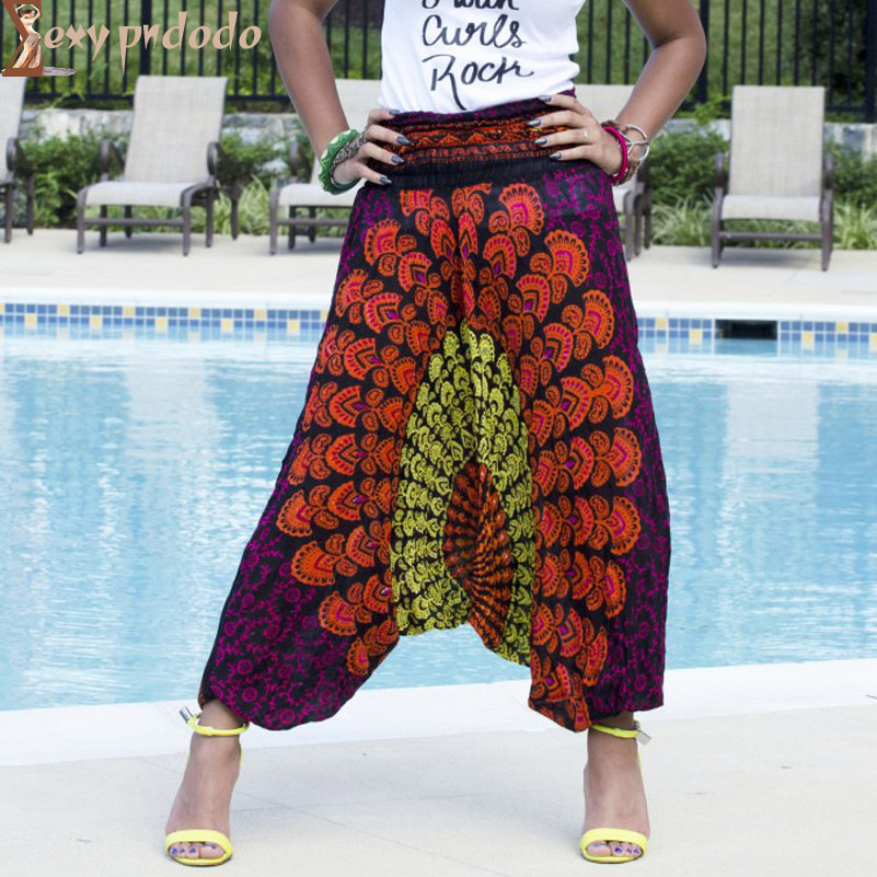 Elastic Waist Ethnic Harem Flare Pants Women Printed Long Cotton Linen Baggy Bloomers Wide Leg Pants Pantalon Taille Haute Femme