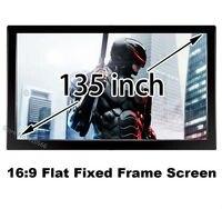 Ausgezeichnete Qualität Bild 135 Zoll 16:9 flache Festrahmenprojektionswand mit 80mm Aluminium schwarz velevt für Showroom Büro