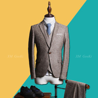 Для мужчин платье для выпускного вечера костюм Для мужчин; комплект из 3 предметов Бизнес Профессиональный Костюмы мужской серый пиджак чел